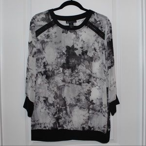 Lane Bryant black and white floral top